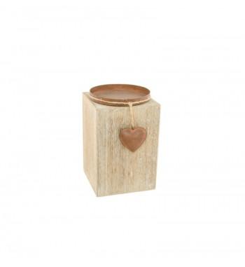 Bougeoir bois métal cœur...